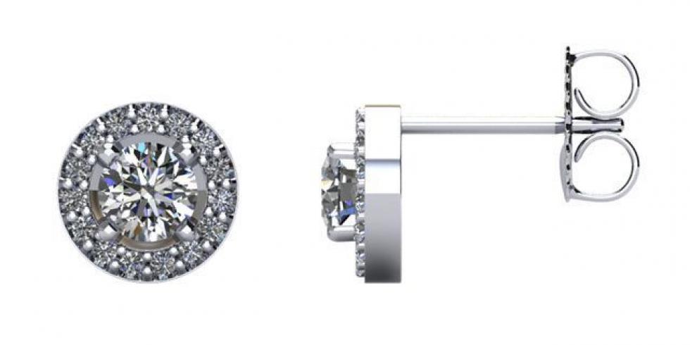 14kt White 5/8 CTW Diamond Halo-Styled Earrings