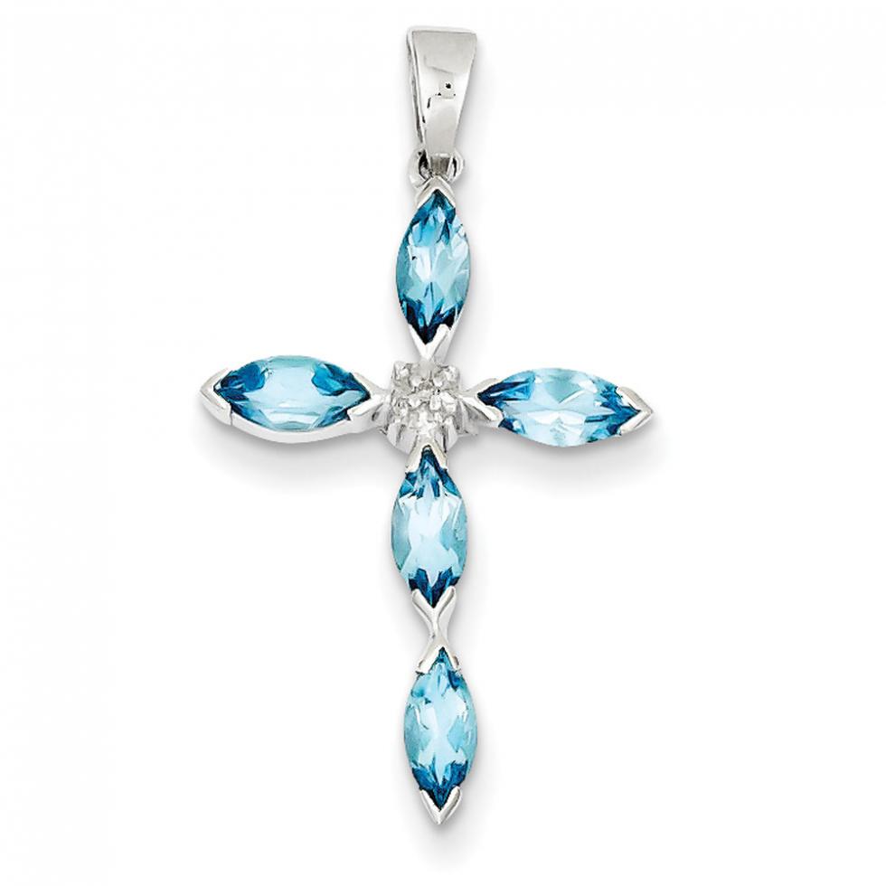 Blue Topaz & Diamond Cross Pendant