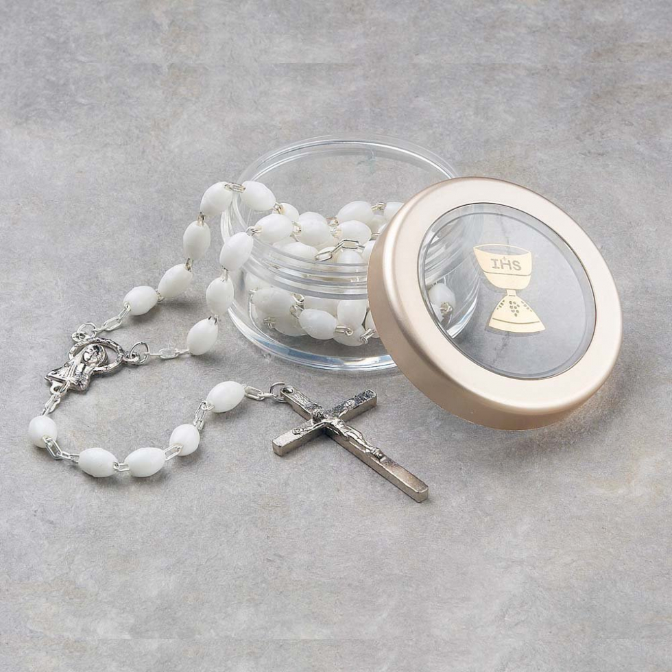 New First Communion White Rosary & Clear Box Gift