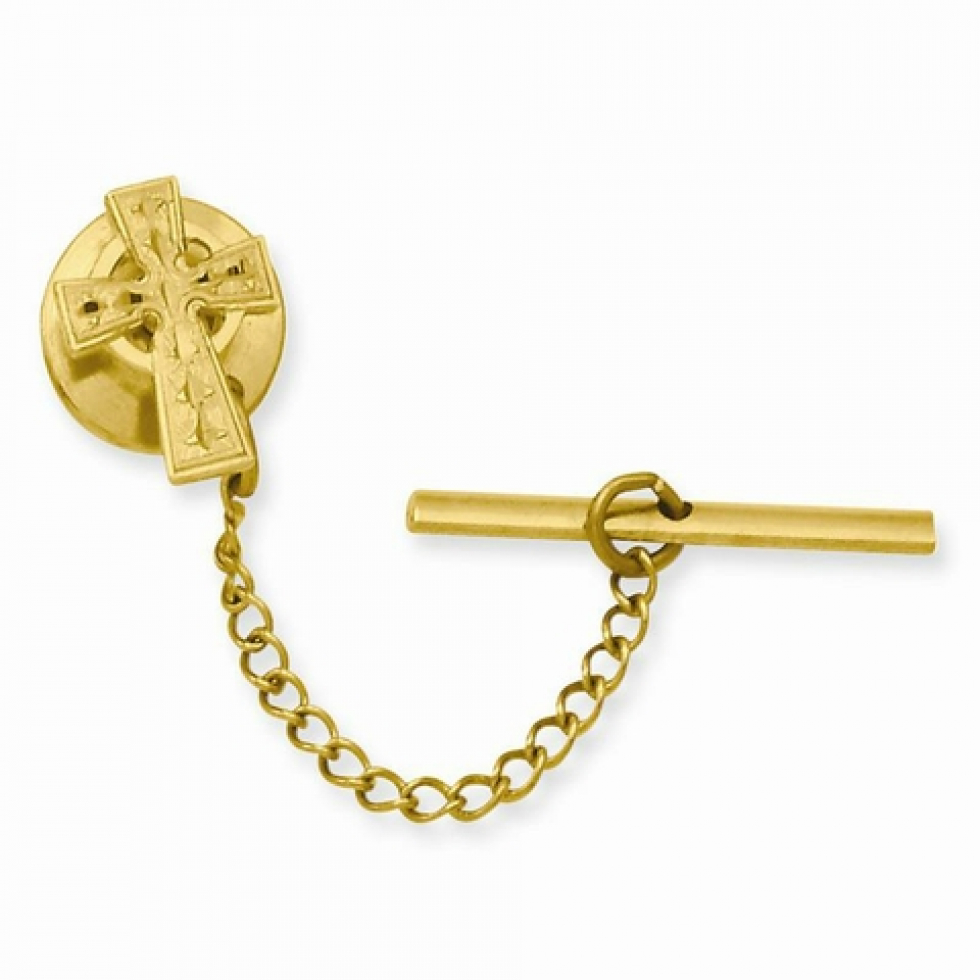Gold Plated Celtic Cross Tie Tack