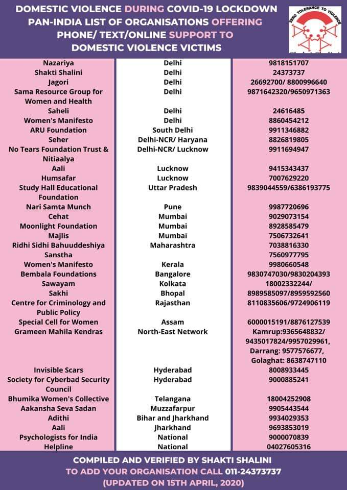helplines for domestic and gender based violence amidst COVID lockdown