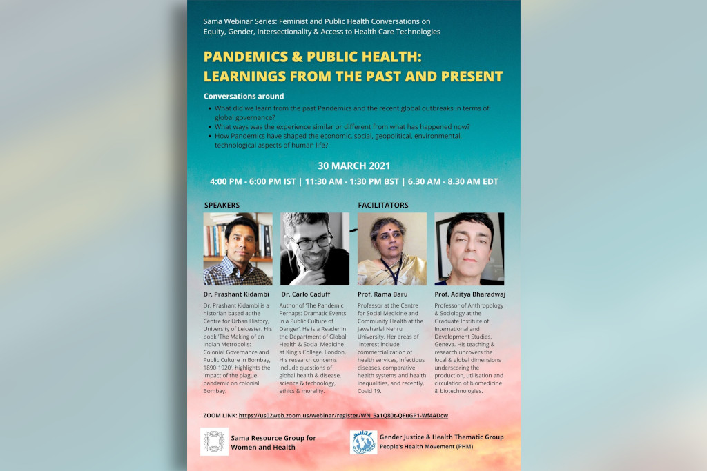 Webinar on Pandemics and Public Health on 30th March 2021.
