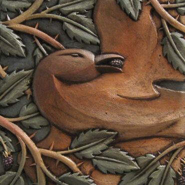 """""""Bird in Thorns"""" • architectural terra cotta, slips and glazes • 11"""" x 11"""" x 1.5"""""""