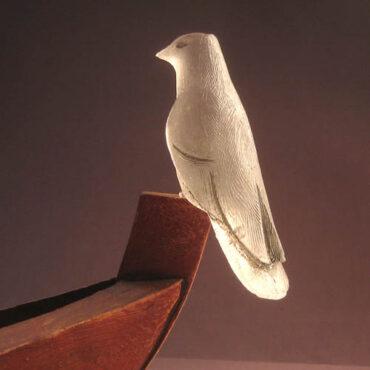 """""""Sinking Man"""" • detail of cast glass bird"""
