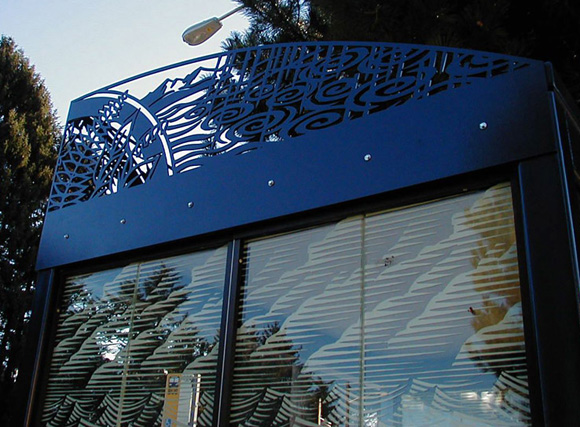 Laser cut steel and fritted glass for King Co. Metro bus shelters