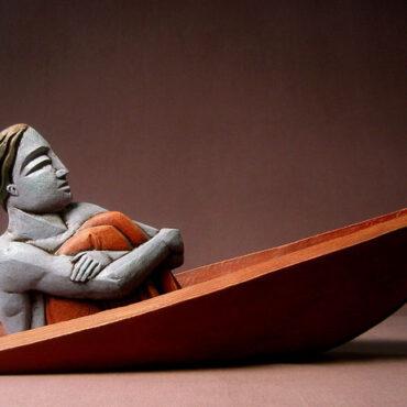 """Sinking Man"" • terra cotta, slips, glazes, cast glass"