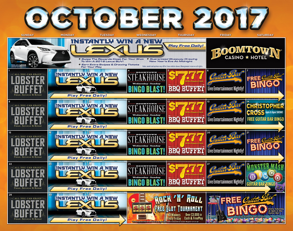 Boomtown Reno October 2017 Calendar