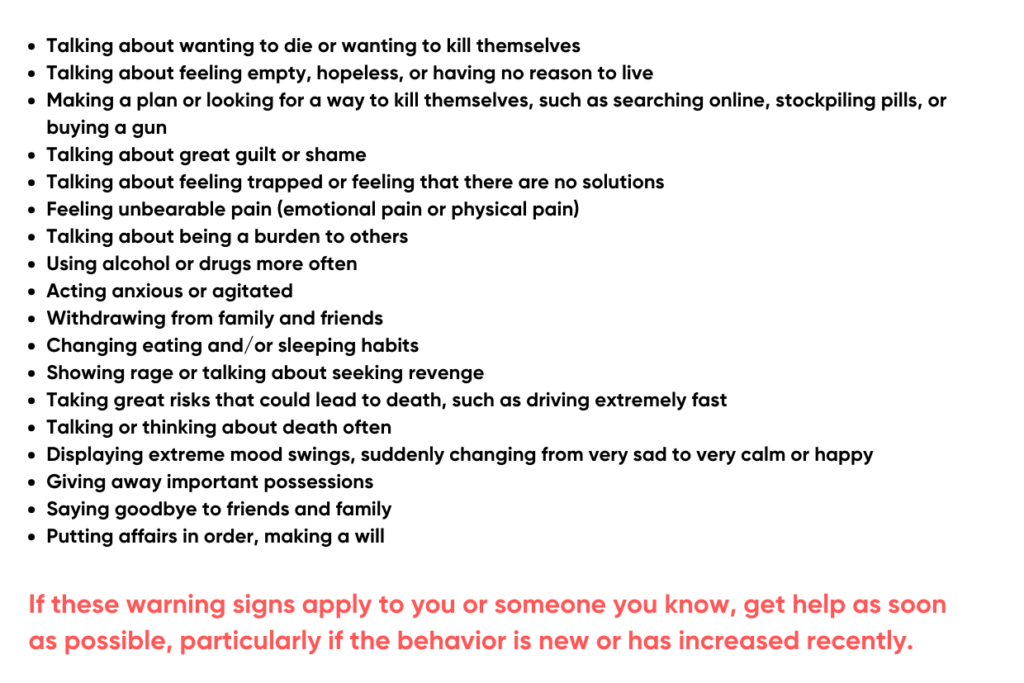 Warning Signs List