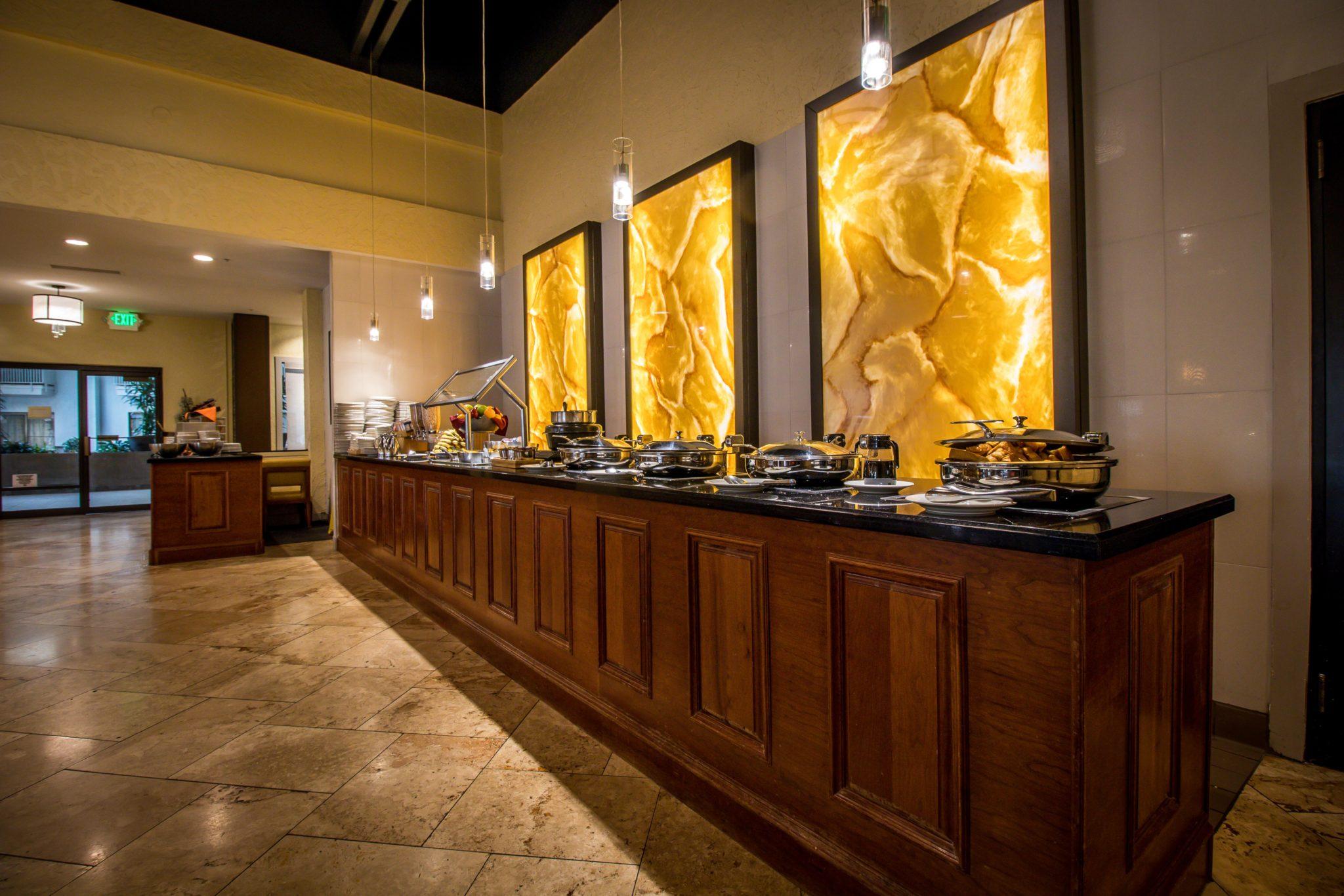 Breakfast bar in restaurant Doubletree Hilton Hotel Salt Lake City Airport