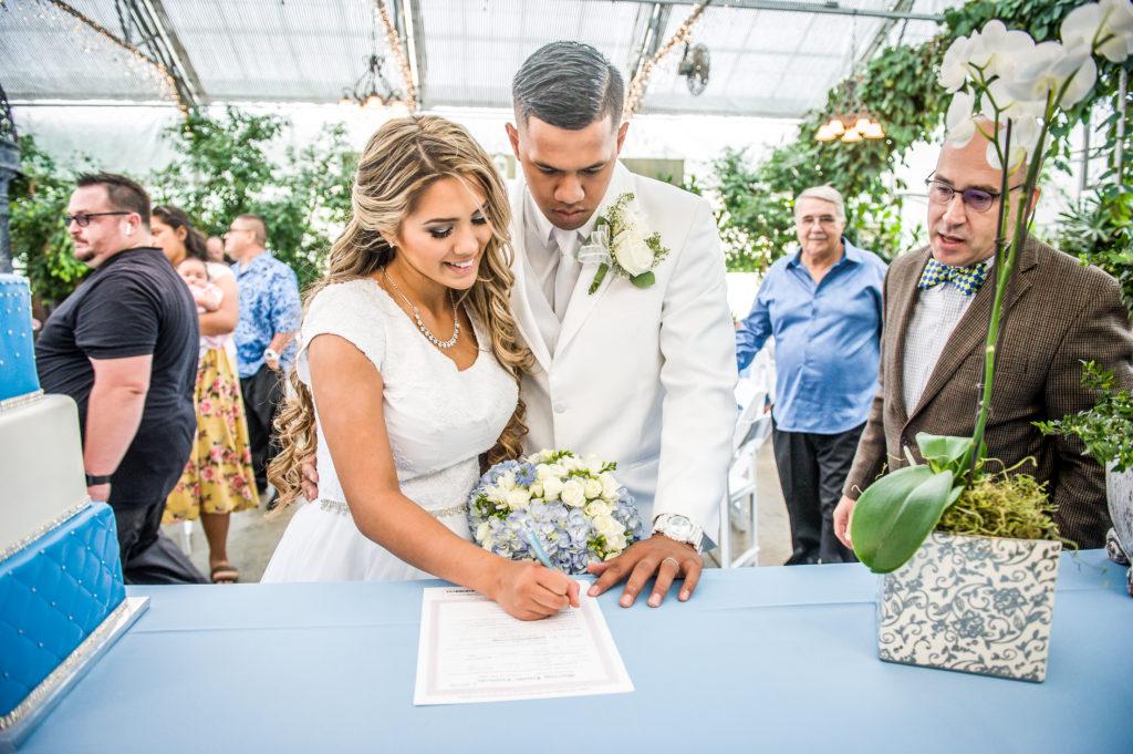 signing marriage license Ryan hender photography le garden wedding venue sandy utah