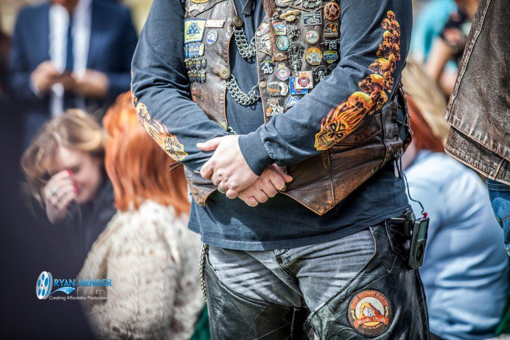 biker folding arms funeral photography utah Ryan hender films