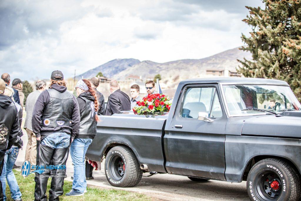 casket in truck with friends funeral photography utah Ryan hender films
