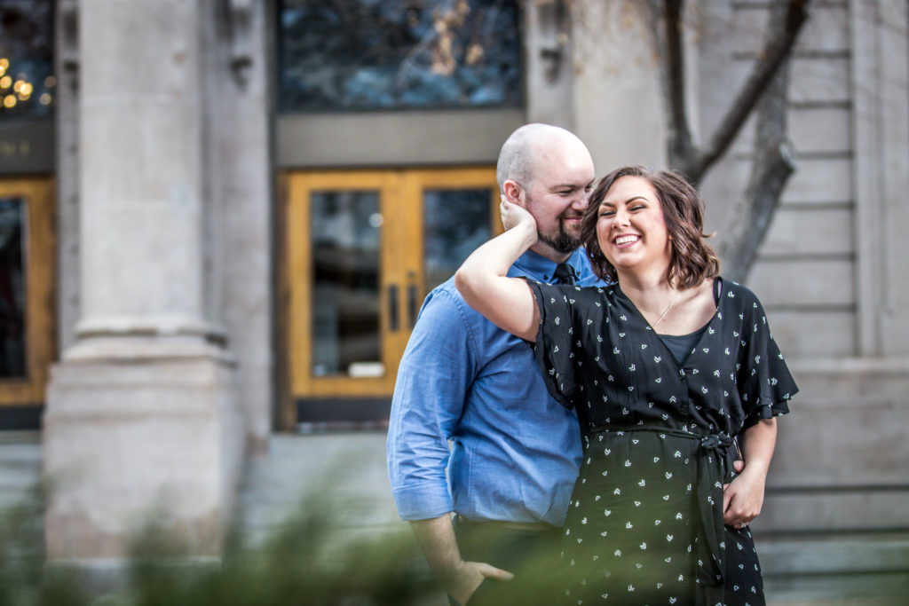 wedding engagement photos exchange place salt lake city utah