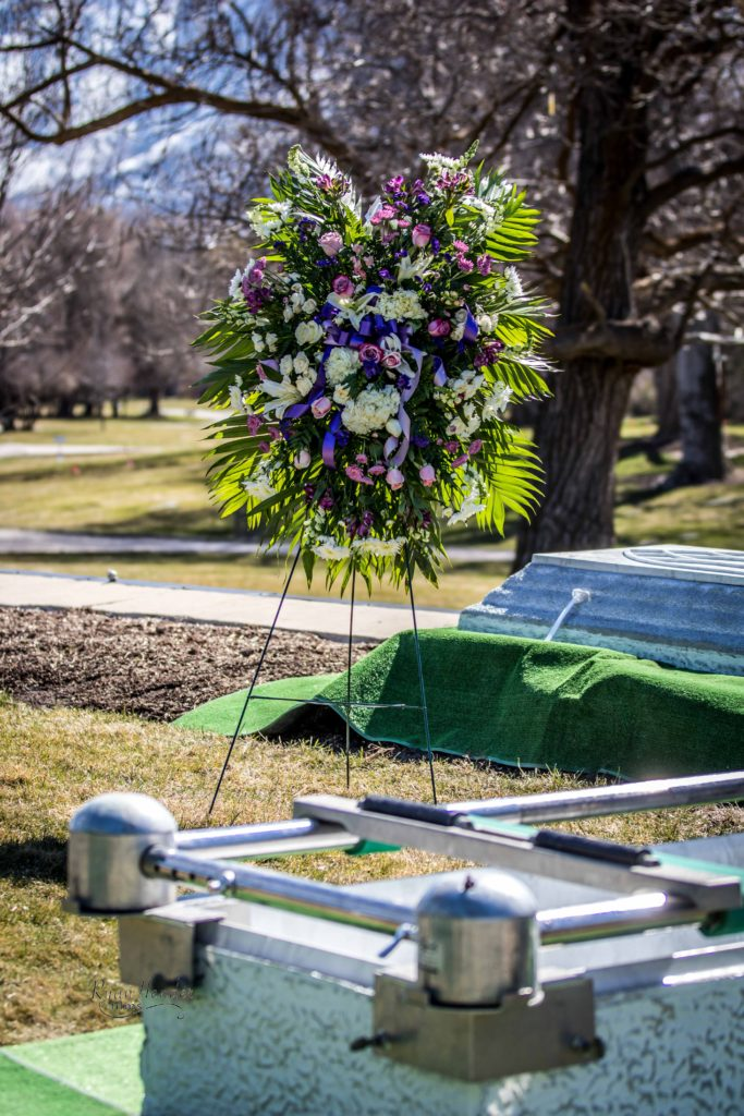 flowers at funeral Wasatch lawn salt lake city cemetery photography for funerals Ryan hender films