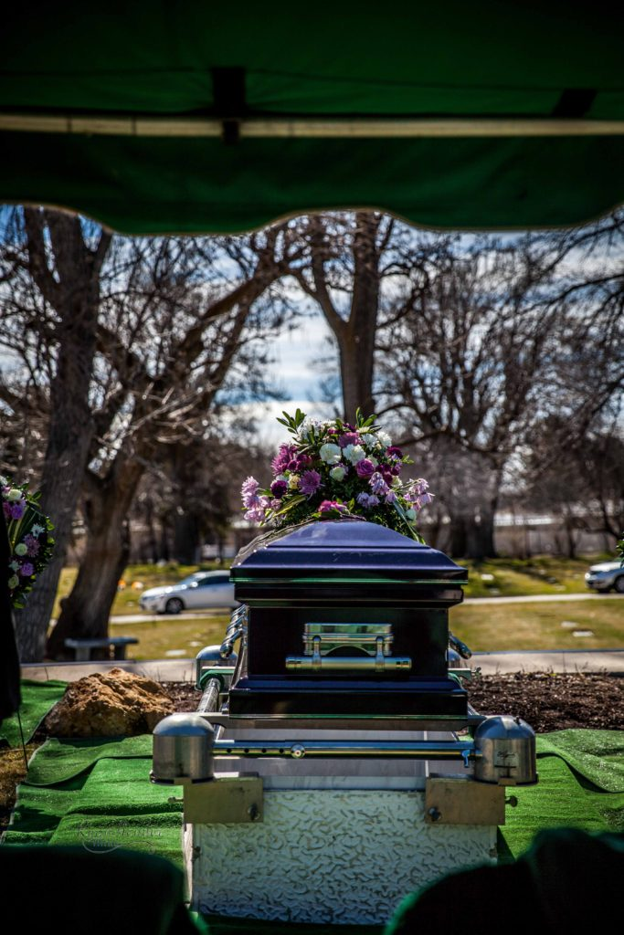 side view of casket Wasatch lawn salt lake city cemetery photography for funerals Ryan hender films