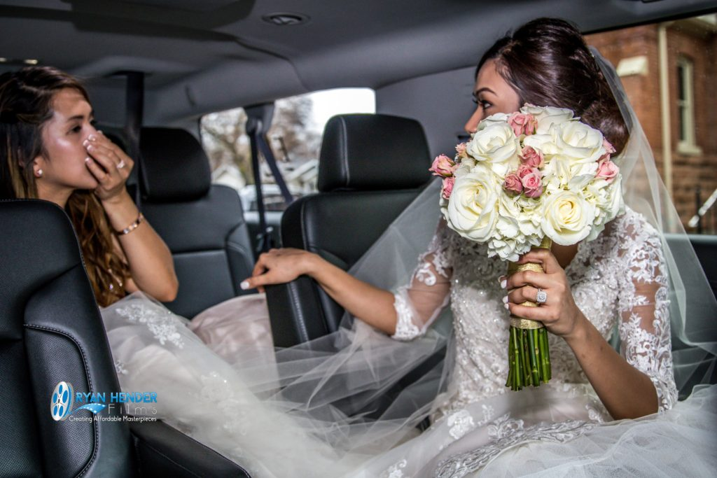 bride in limo after forgetting rings on wedding day