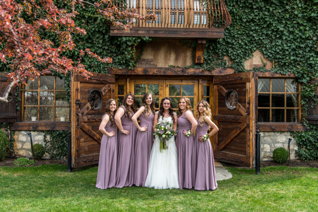 bridesmaids posing at wadley farms utah