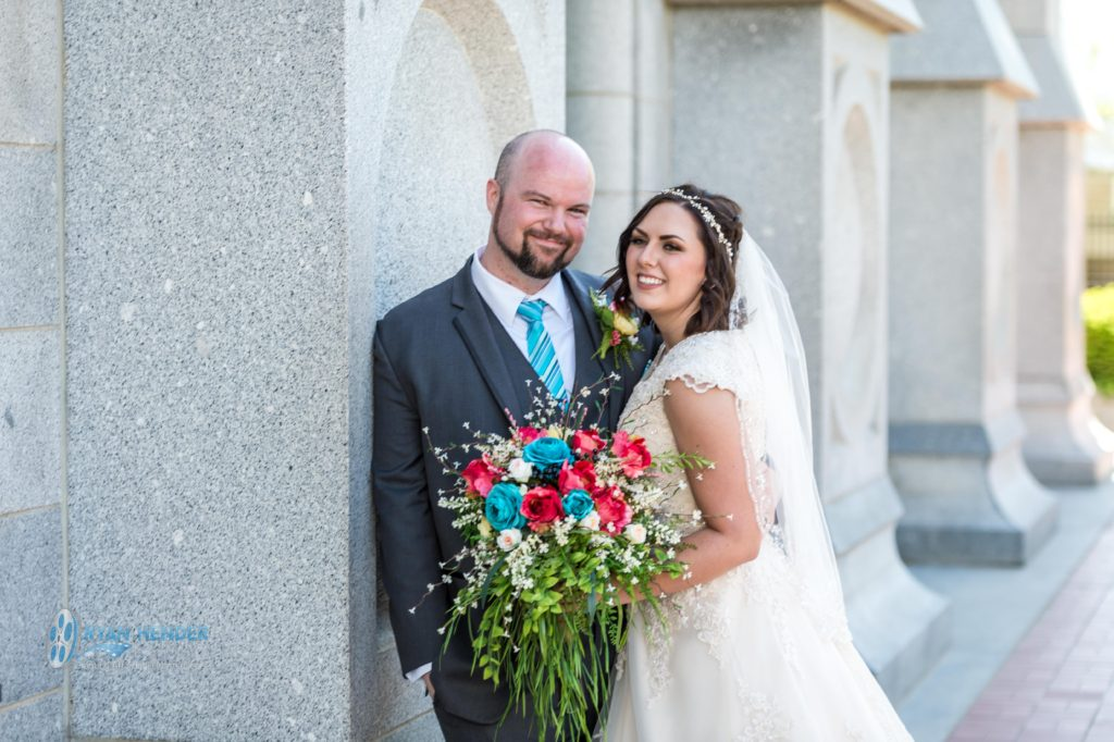 bride and groom at salt lake city utah temple