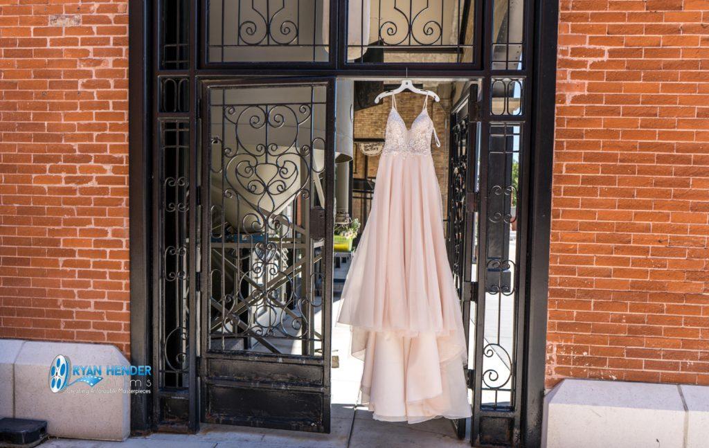 wedding dress hanging at the falls wedding photography
