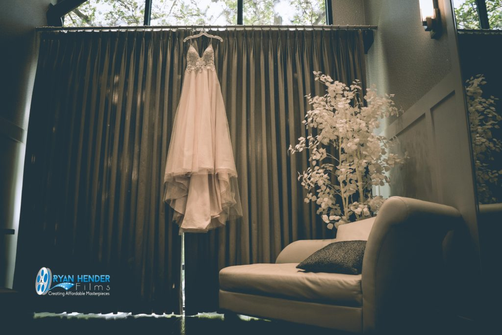 wedding gown draped on draperies wedding photography