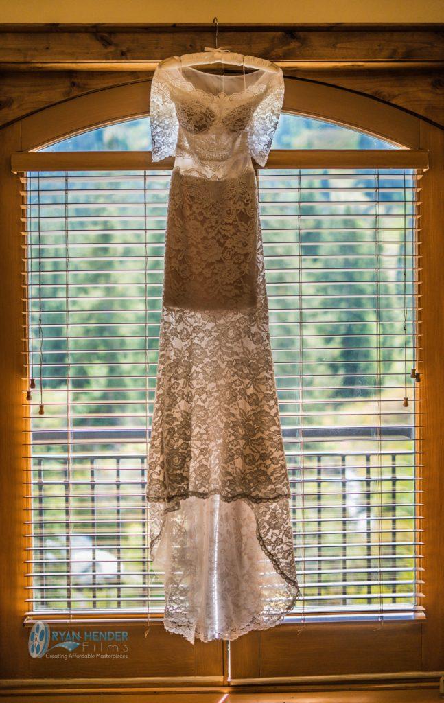 bride's dress at solitude mountain resort wedding photography