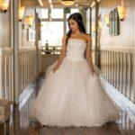 destination wedding photos bride in hallway