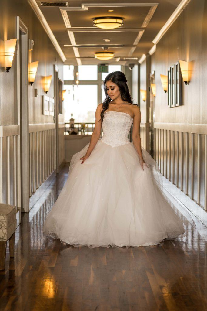 destination wedding photos bride in hallway