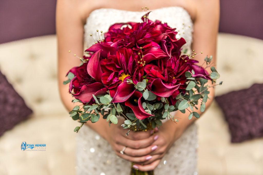 bride holding bouquet millennial falls wedding photography utah Ryan hender films