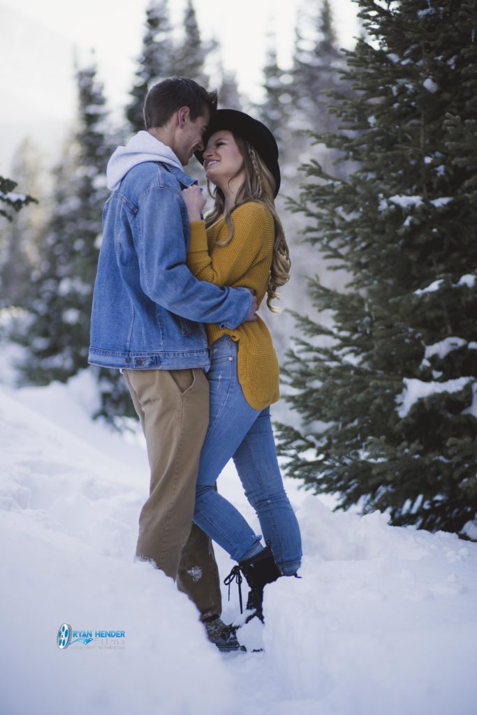 engagement photo shoot bride and groom utah mountains