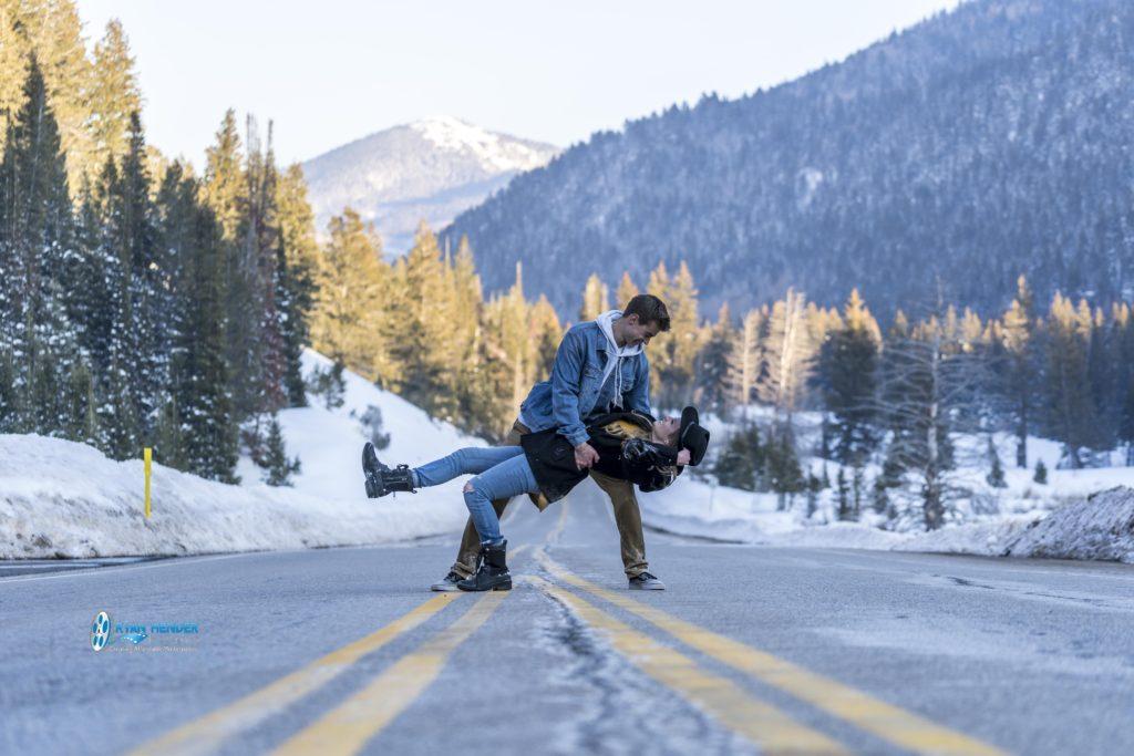 engagement photo shoot bride and groom utah mountains