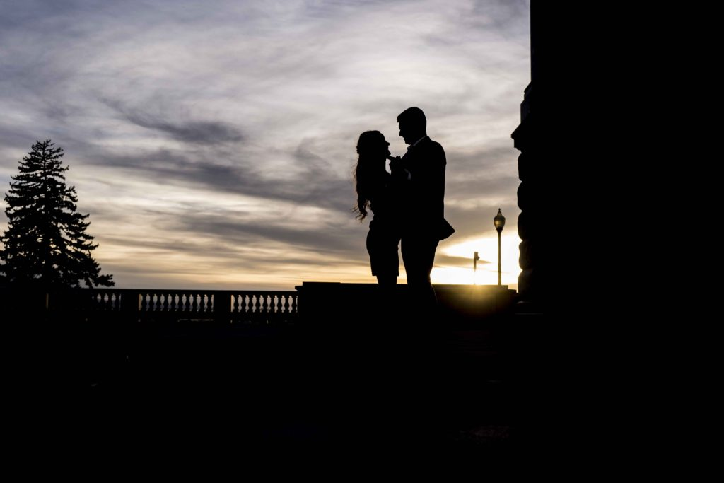 silhouette sunset engagement