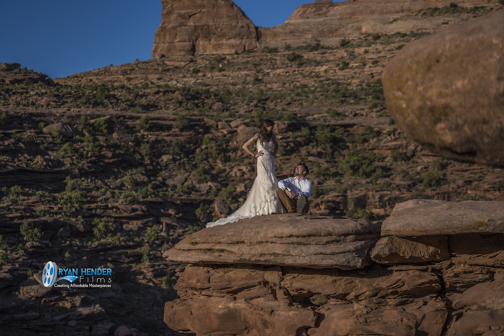 bride and groom get married on a cliff in moab utah