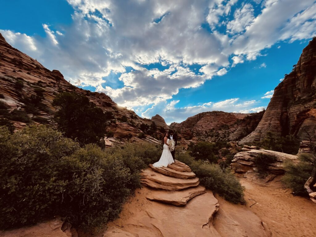 Zion national Park wedding photography bride and groom