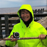 Lyn Smith showing her new rod