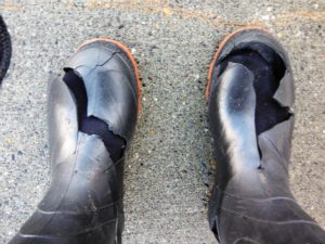 Nila's boots - blew holes in them!!