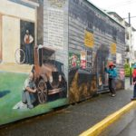 Audrey viewing the first mural
