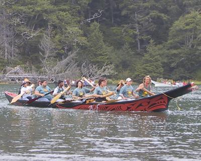 Jamestown Canoe Crew - pullers jamestown Tribal Canoe Journey topic of speech by Vicki Carroll at NOSPS dinner