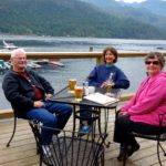 Ray, Sally and Sandy enjoying the deck at BackEddy Pub