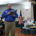 """Commander Madsen reading an excerpt of  the book regarding Dick Schoel """"Cold Burning"""""""
