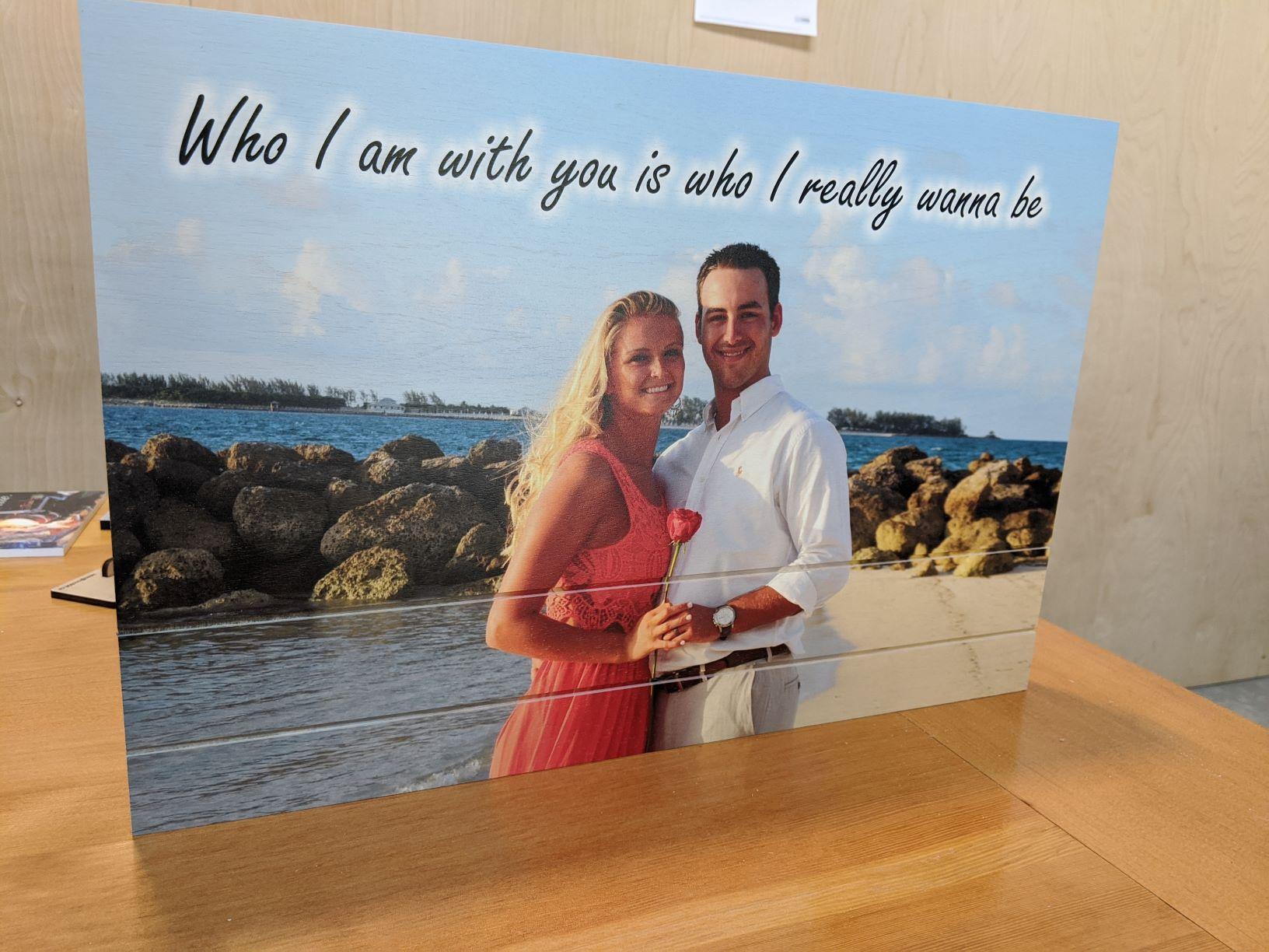 Photo printed on wood with slats