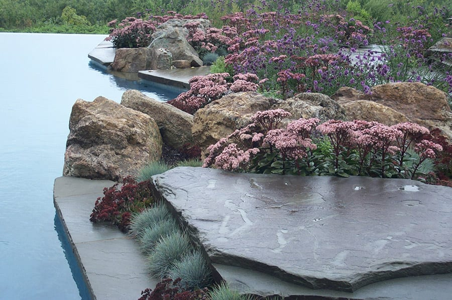 Placement Rocks, also called accent rocks or specimen rocks alongside a pool