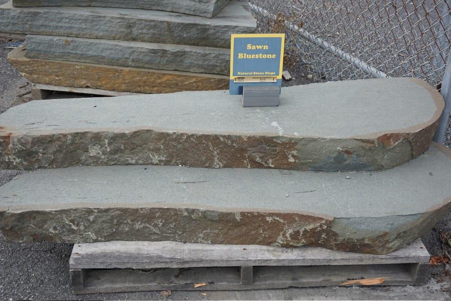 Sawn top, natural edge bluestone steps