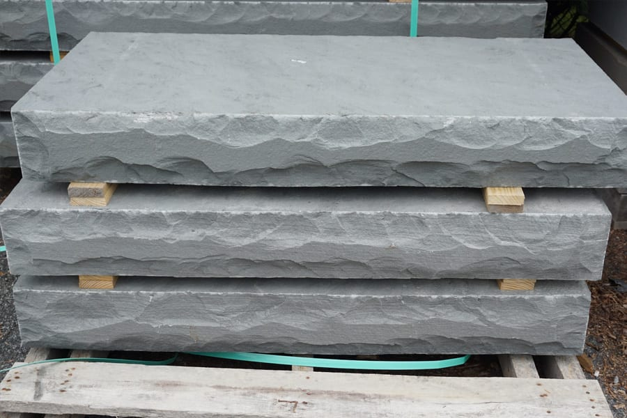 A photo of our sawn thermal rockfaced bluestone steps
