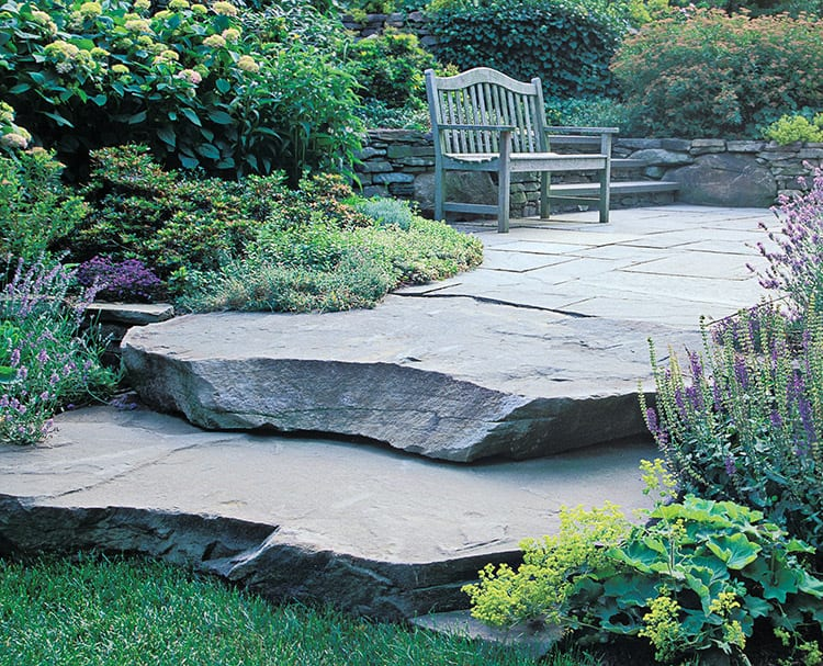 A picture of natural stone steps in a landscape