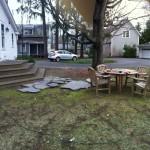 Before, an awkward deck and a big shade tree