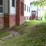 Original conditions showing gullies from stormwater runoff