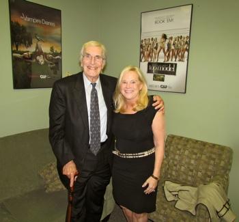 Martin Landau with Sarah Adamson WGN Studios, Sept. 7, 2012 Photo Credit: WJ Adamson