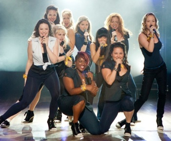 (L to R) Ashley (Shelly Regner), Stacie (Alexis Knapp), Fat Amy (Rebel Wilson), Aubrey (Anna Camp), Cynthia Rose (Ester Dean), Beca (Anna Kendrick), Lilly (Hana Mae Lee), Denise (Wanetah Walmsley), Chloe (Brittany Snow) and Jessica (Kelley Alice Jakle) are the Barden Bellas in