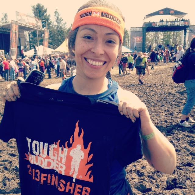 Angelica after her Tough Mudder finish