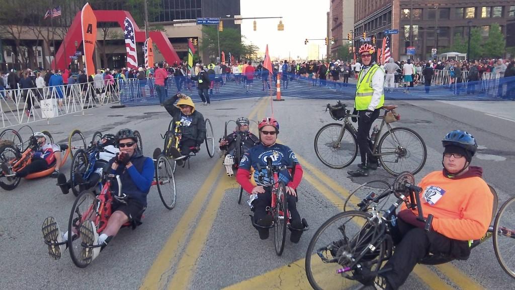 Team ER's Paul Dowd lead cyclist for hand cycles. Cleveland marathon.